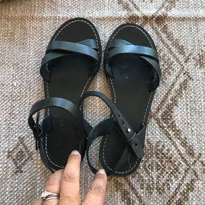 Madewell black leather boardwalk crisscross sandal